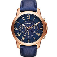 Fossil Grant Navy Leather Strap Chronograph Watch - Navy