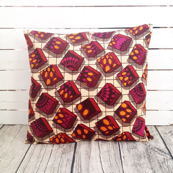 Blocks Throw-Cushion pillow cover, Scatter cushion African wax print, Throw Pillow  (17 inch) Burgundy decorative pillows