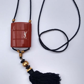 YSL Yves Saint Laurent Vintage Opium Tassel Long Necklace. French Designer Jewellery.