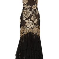 Marchesa Notte - Metallic embroidered tulle gown