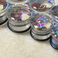 Holographic Flower Plugs Handmade Floral Gauges Acrylic Ear Expander Large Gauge Tunnels
