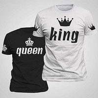 King Queen Lovers Tee T Shirt Imperial Crown Printing Couple Clothes lovers Tee Shirt Summer News Casual O-neck Tops