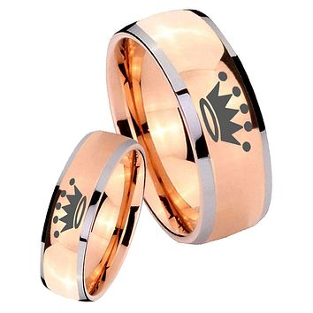 His Hers Rose Gold Dome Crown Two Tone Tungsten Wedding Rings Set