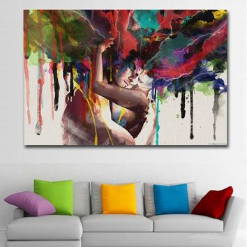 SELFLESSLY ART Posters Prints Wall Art Canvas Painting Abstract Couple Huging Wall Pictures For Living Room Wall Decoration