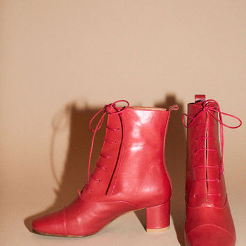 By Far Shoes - Red Lada Ankle Boot | BONA DRAG