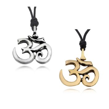 Hindu Om Ohm Yoga Silver Pewter Gold Brass Charm Necklace Pendant Jewelry