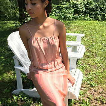 1970s rose gold maxi dress / metallic dress / spaghetti straps / small - medium