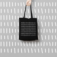 Geometric Black Tote Bag Hipster - Canvas Tote Bag - Printed Tote Bag - Market Bag - Cotton Tote Bag - Large Canvas Tote - Funny Tote Bag