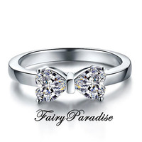 Sparkling Heart Cut Bow Ring, 0.5 ct Each Man Made Heart Cut Diamond Promise Ring in 925 Sterling Silver, Anniversary Gift (FairyParadise)