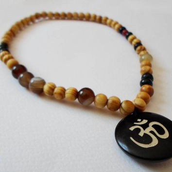 Yoga Om Symbol Necklace, Yoga Beaded Stretch necklace, Om Yoga Jewelry, Tribal Hippie style necklace, Indian Ethnic OOAK Handmade Necklace