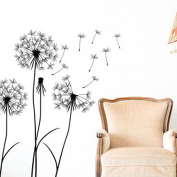 Dandelion Seeds Wall Decal- Dandelion Flower Wall Decal- Dandelion Wall Art- Vinyl Wall Decal Dandelion Nursery Bedroom Living Room Art 101