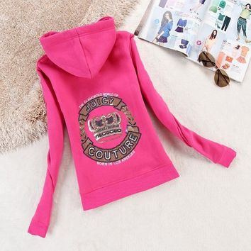 Juicy Couture Logo Crown Velour Jacket 2198 Women Hoody Rose - Ready Stock