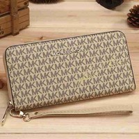 MK Women Leather Zipper Wallet Purse