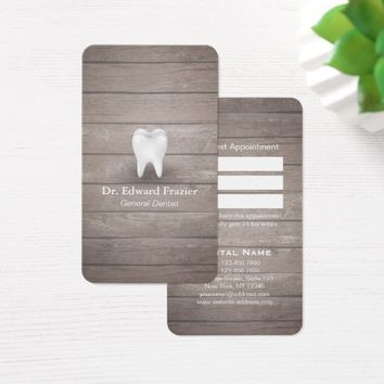 Professional Dental Care Dentist Wood Appointment Business Card