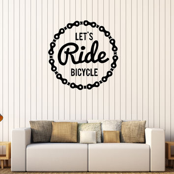 Vinyl Wall Decal Bicycle Chain Bike Teen Room Decor Quote Stickers Unique Gift (222ig)