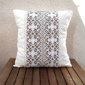 Decorative pillow, Lace throw pillow, Shabby chic pillow, Yvory pillow, Pillow cover 16x16, Brown pillow case, Home decor pillow cover