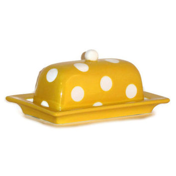 Ceramic Butter Dish in Retro Yellow with White Polka Dots