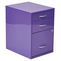 "OSP Designs 22"" Pencil, Box, Storage File Cabinet in Purple Finish"