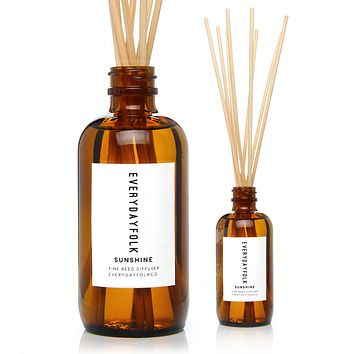 EverydayFolkCo. Sunshine Fine Reed Diffuser. Meyer Lemon, Lemon Verbena. 3.75 ounces.