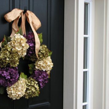 SUPER SALE on NOW Spring Summer Wreaths, Hydrangea Wreath, Spring Summer Decorations, Online Wreath, Spring Summer Hydrangeas, Spring Summer