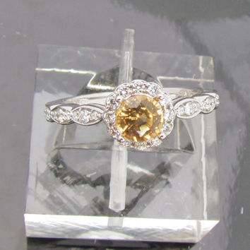 Engagement Ring Champagne Yellow Sapphire in by pristinejewelry