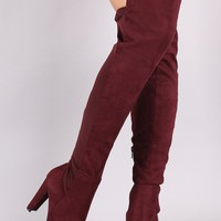 Wild Diva Lounge Suede High Low Chunky Heeled Boots