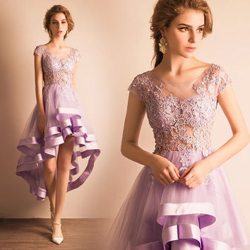 vestido de festa light purple cocktail dresses  2017 high low appliques lace tulle girl coctail party dress robe de soiree