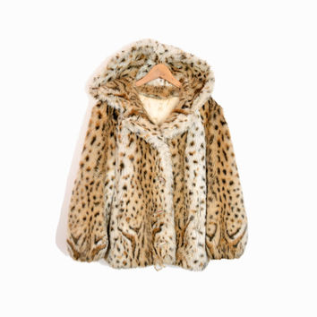 Vintage 80s Faux Fur Toggle Coat with Oversized Hood - Snow Leopard - women's m