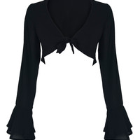 Black V-neck Layered Flare Sleeve Knotted Front Crop Top