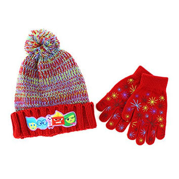 Disney Nickelodeon Mattel Girls Hat and Gloves Set (Red Inside Out)