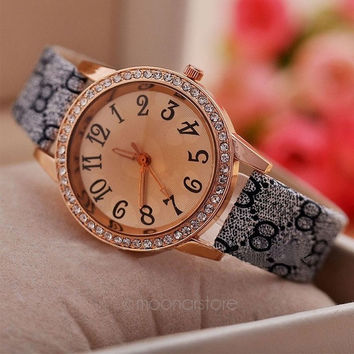 Vintage Fashion Floral Watch Women Wristwatch Luxury Gold Crystal Quartz Rhinestone Watches PU Leather Band Wrist Watch Clocks = 1956792836