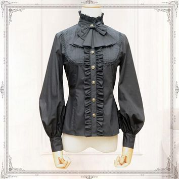 Vintage Women's Chiffon Shirt Long Lantern Sleeve Stand Collar Female Gothic Blouse Black/White