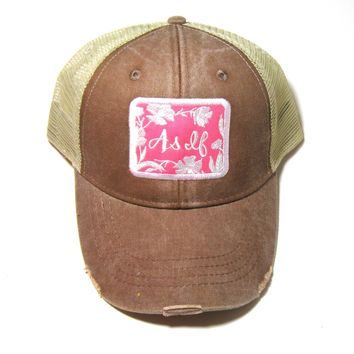 Distressed Snapback -  As If - Coral on Brown Snarky Saying Sassy Hat