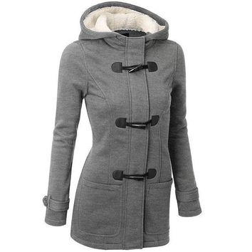 ICIKHY9 2016 Winter Coat Women Thick Slim Outerwear Long sleeve Jackets Hooded long-sleeved classic horn leather buckle coat jacket coat