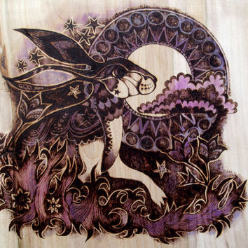 Pyrography Art, Moon gazing hare with ink colouring. Woodburning art, Wood burning, Hare art, Hare Painting, Moon Gazing Hare, pagan gift UK