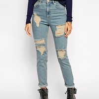 ASOS Farleigh High Waist Slim Mom Jeans in Davina Wash with Extreme Rips