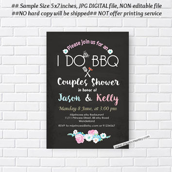 I Do BBQ Invitations, Wedding Shower Invites,  Couples Shower BBQ, Wedding Shower BBQ Chalkboard, Engagement Party, Bridal bbq  - card 604