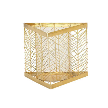 Benzara Classy Metal Glass Gold Candle Holder