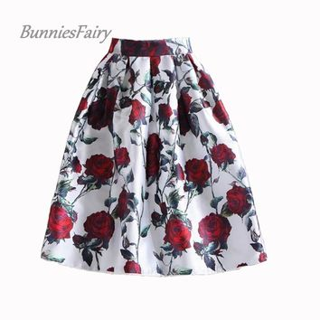 BunniesFairy 50s Vintage Woman Retro Red Rose Flower Bouquet Floral Print High Waist Midi Skirts Mid-Calf Long Saia Feminina
