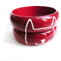 Wine Kitty Cat Wooden Bangles - Mismatched Jewelry Kitty Bangle Bracelet Set - Kitten Cat Jewelry - Red Hand Painted Pet Jewelry