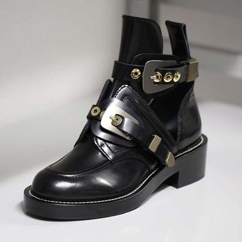 Vintage Motorcycle Boots Women  Buckle Strap Punk Ankle Boots