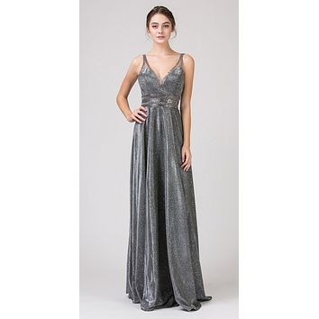 A-Line Glitter Long Prom Dress V-Neck and Back Charcoal