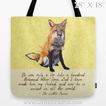 """Woodland Yellow """"Fox The Little Prince"""" Graphic Print Tote Bag Back to School Quote Orange Wildlife Children Nursery Neutral Kid Book Gift"""