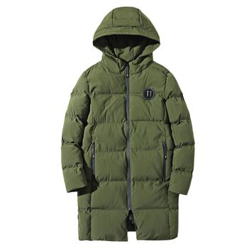 Applique Longline Zip Up Padded Coat Cotton Men Women Autumn Winter Thermal Warm Hooded Army Casual Outdoor Climbing Male Wear