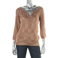 INC Womens Petites Metallic Chevron Pullover Sweater