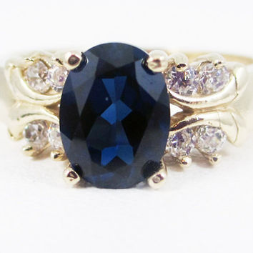 Blue Sapphire 14k Yellow Gold CZ Accent Oval Ring, September Birthstone Ring, Sapphire Engagement Ring, 14k Gold Engagement Ring