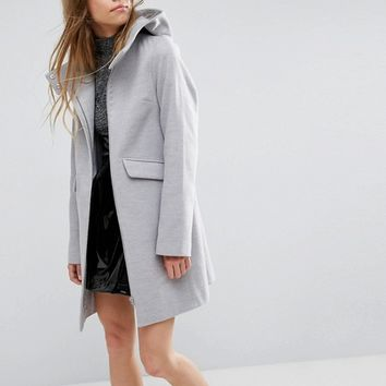 ASOS Hooded Slim Coat with Zip Front at asos.com
