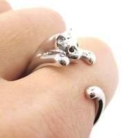 Miniature Kitty Cat Shaped Animal Wrap Around Ring in Shiny Silver | US Size 3 to Size 8.5 from DOTOLY
