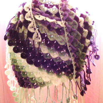 Crochet Crocodile Stitch Shawl - Purple, Green and White - Made to Order - Mohair Wrap