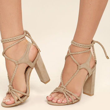 Ophelia Nude Suede Lace-Up Heels